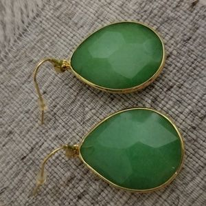 "Stella & dot ""Serenity"" Green Stone Drop Earrings"